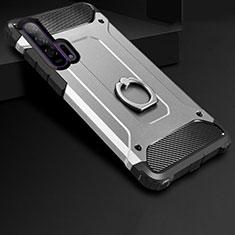 Custodia Silicone e Plastica Opaca Cover con Anello Supporto per Huawei Honor 20 Pro Argento