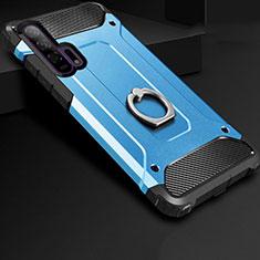 Custodia Silicone e Plastica Opaca Cover con Anello Supporto per Huawei Honor 20 Pro Blu