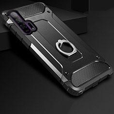 Custodia Silicone e Plastica Opaca Cover con Anello Supporto per Huawei Honor 20 Pro Nero
