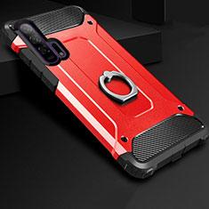 Custodia Silicone e Plastica Opaca Cover con Anello Supporto per Huawei Honor 20 Pro Rosso