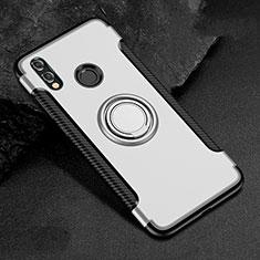 Custodia Silicone e Plastica Opaca Cover con Anello Supporto per Huawei Honor 8X Bianco