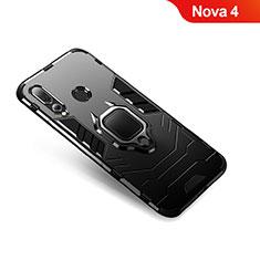 Custodia Silicone e Plastica Opaca Cover con Anello Supporto per Huawei Nova 4 Nero