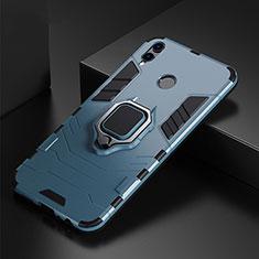 Custodia Silicone e Plastica Opaca Cover con Anello Supporto per Huawei P Smart (2019) Blu
