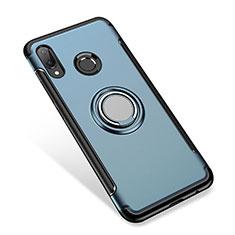 Custodia Silicone e Plastica Opaca Cover con Anello Supporto per Huawei P Smart+ Plus Blu
