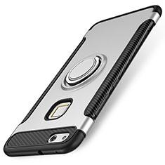 Custodia Silicone e Plastica Opaca Cover con Anello Supporto per Huawei P10 Lite Argento