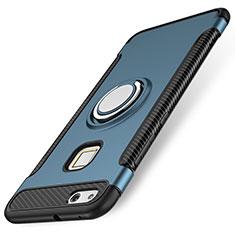 Custodia Silicone e Plastica Opaca Cover con Anello Supporto per Huawei P10 Lite Blu