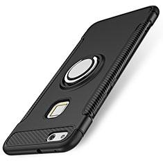 Custodia Silicone e Plastica Opaca Cover con Anello Supporto per Huawei P10 Lite Nero