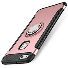 Custodia Silicone e Plastica Opaca Cover con Anello Supporto per Huawei P10 Lite Oro Rosa