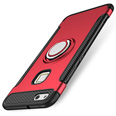 Custodia Silicone e Plastica Opaca Cover con Anello Supporto per Huawei P10 Lite Rosso