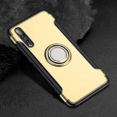 Custodia Silicone e Plastica Opaca Cover con Anello Supporto per Huawei P20 Pro Oro