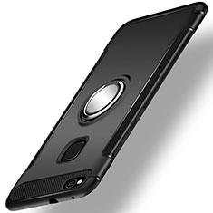 Custodia Silicone e Plastica Opaca Cover con Anello Supporto per Huawei P9 Lite (2017) Nero