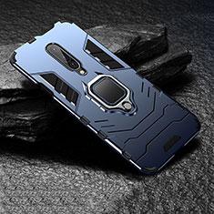 Custodia Silicone e Plastica Opaca Cover con Anello Supporto per OnePlus 7 Pro Blu