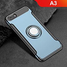 Custodia Silicone e Plastica Opaca Cover con Anello Supporto per Oppo A3 Blu