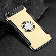 Custodia Silicone e Plastica Opaca Cover con Anello Supporto per Oppo A3 Oro