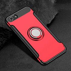 Custodia Silicone e Plastica Opaca Cover con Anello Supporto per Oppo A3 Rosso