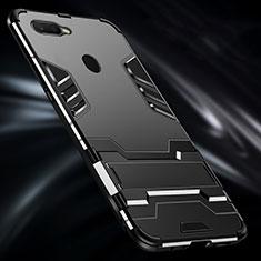 Custodia Silicone e Plastica Opaca Cover con Anello Supporto per Oppo A7 Nero