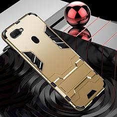 Custodia Silicone e Plastica Opaca Cover con Anello Supporto per Oppo A7 Oro