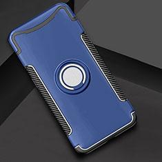 Custodia Silicone e Plastica Opaca Cover con Anello Supporto per Oppo Find X Blu