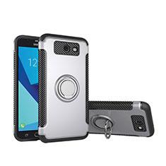 Custodia Silicone e Plastica Opaca Cover con Anello Supporto per Samsung Galaxy J5 (2017) Version Americaine Argento
