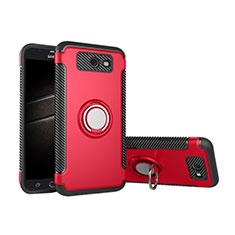 Custodia Silicone e Plastica Opaca Cover con Anello Supporto per Samsung Galaxy J5 (2017) Version Americaine Rosso