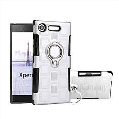 Custodia Silicone e Plastica Opaca Cover con Anello Supporto per Sony Xperia XZ1 Compact Bianco