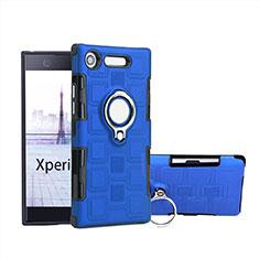 Custodia Silicone e Plastica Opaca Cover con Anello Supporto per Sony Xperia XZ1 Compact Blu