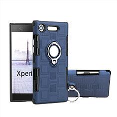 Custodia Silicone e Plastica Opaca Cover con Anello Supporto per Sony Xperia XZ1 Compact Cielo Blu