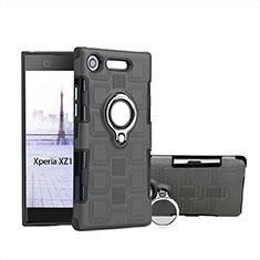 Custodia Silicone e Plastica Opaca Cover con Anello Supporto per Sony Xperia XZ1 Compact Grigio