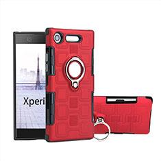 Custodia Silicone e Plastica Opaca Cover con Anello Supporto per Sony Xperia XZ1 Compact Rosso