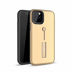 Custodia Silicone e Plastica Opaca Cover con Anello Supporto S01 per Apple iPhone 11 Pro Oro