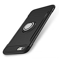 Custodia Silicone e Plastica Opaca Cover con Anello Supporto S01 per Apple iPhone 7 Nero