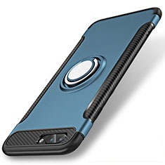 Custodia Silicone e Plastica Opaca Cover con Anello Supporto S01 per Apple iPhone 7 Plus Blu