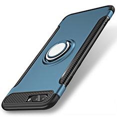Custodia Silicone e Plastica Opaca Cover con Anello Supporto S01 per Apple iPhone 8 Plus Blu