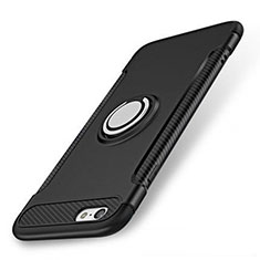 Custodia Silicone e Plastica Opaca Cover con Anello Supporto S01 per Apple iPhone SE (2020) Nero