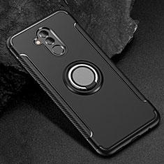 Custodia Silicone e Plastica Opaca Cover con Anello Supporto S01 per Huawei Mate 20 Lite Nero