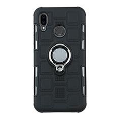 Custodia Silicone e Plastica Opaca Cover con Anello Supporto S01 per Huawei P20 Lite Nero