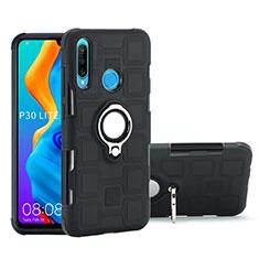 Custodia Silicone e Plastica Opaca Cover con Magnetico Anello Supporto A01 per Huawei P30 Lite Nero