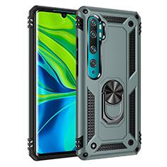Custodia Silicone e Plastica Opaca Cover con Magnetico Anello Supporto D01 per Xiaomi Mi Note 10 Verde