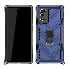 Custodia Silicone e Plastica Opaca Cover con Magnetico Anello Supporto N03 per Samsung Galaxy Note 20 5G Blu