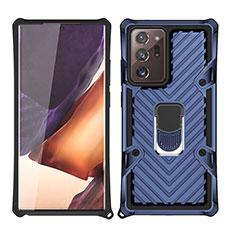 Custodia Silicone e Plastica Opaca Cover con Magnetico Anello Supporto N03 per Samsung Galaxy Note 20 Ultra 5G Blu
