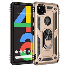 Custodia Silicone e Plastica Opaca Cover con Magnetico Anello Supporto per Google Pixel 4a Oro