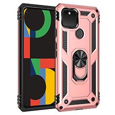 Custodia Silicone e Plastica Opaca Cover con Magnetico Anello Supporto per Google Pixel 5 Oro Rosa