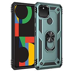 Custodia Silicone e Plastica Opaca Cover con Magnetico Anello Supporto per Google Pixel 5 Verde Pastello