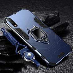 Custodia Silicone e Plastica Opaca Cover con Magnetico Anello Supporto per Huawei Enjoy 10 Blu