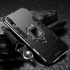 Custodia Silicone e Plastica Opaca Cover con Magnetico Anello Supporto per Huawei Enjoy 10 Nero