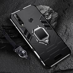 Custodia Silicone e Plastica Opaca Cover con Magnetico Anello Supporto per Huawei Enjoy 10 Plus Nero