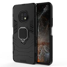 Custodia Silicone e Plastica Opaca Cover con Magnetico Anello Supporto per Huawei Enjoy 20 Plus 5G Nero
