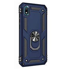 Custodia Silicone e Plastica Opaca Cover con Magnetico Anello Supporto per Huawei Enjoy 8S Blu