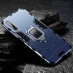 Custodia Silicone e Plastica Opaca Cover con Magnetico Anello Supporto per Huawei Honor 9X Pro Blu