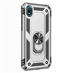 Custodia Silicone e Plastica Opaca Cover con Magnetico Anello Supporto per Huawei Honor Play 8 Argento